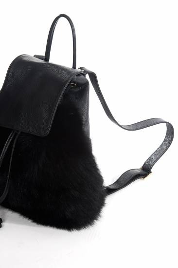 Fur and leather back pack